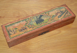 Vintage WOODEN PENCIL TRAVEL CASE With Lock Germany Paper Label 1910's - $62.41