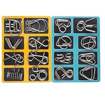 16 Pcs Metal Wire Puzzle Toy Brain Teaser Game Mind IQ Test Magic Ring K... - $10.48