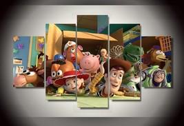 Grande Enmarcado Toy Story Caracteres Buzz Leñosa Canvas Estampado Pared - $135.62