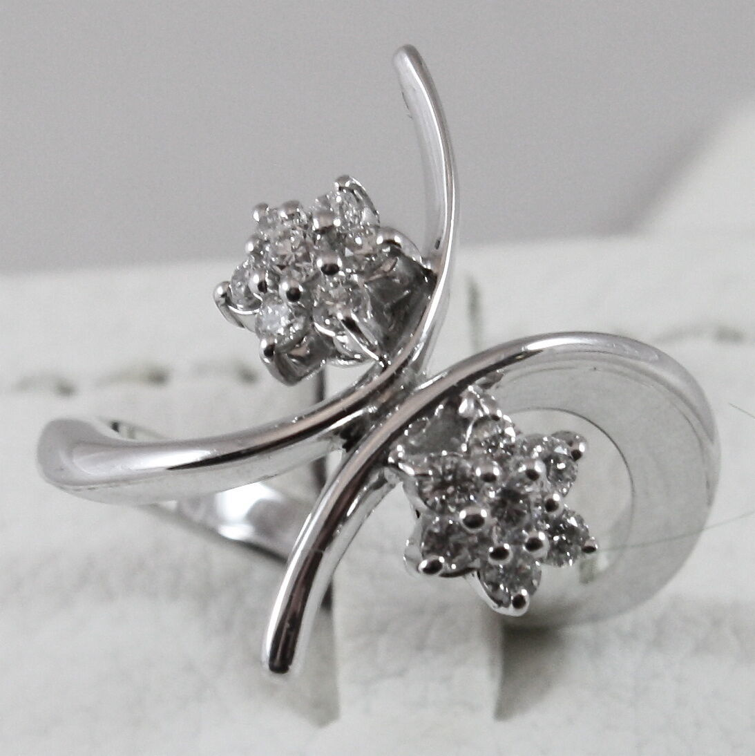 18K 750 WHITE GOLD RING WITH DIAMONDS DOUBLE ALTERNATE FLOWERS, MADE IN ITALY