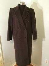 JNY Jones New York Coat 8 10 Wool Mohair Blend Full Length Brown Pea Coa... - $74.24