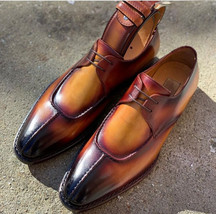 New Handmade Cognac Color Leather Shoes, Men's Split Toe Lace Up Designer Shoes - $144.99+