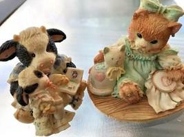 Set of 2 Enesco mini figurines Pasture Bedtime /Friendship Sewn Stitch by Stitch - $11.29