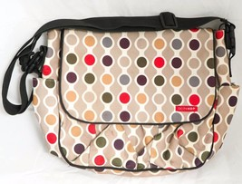 Skip Hop Dash Diaper Bag Circles Tan Green Purple Messenger Bag Pockets - $10.88