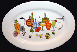HUGE Ursula Dodge MARGARITA Tropical Drinks Oval Platter NEW HEAVY CUTE - $29.99