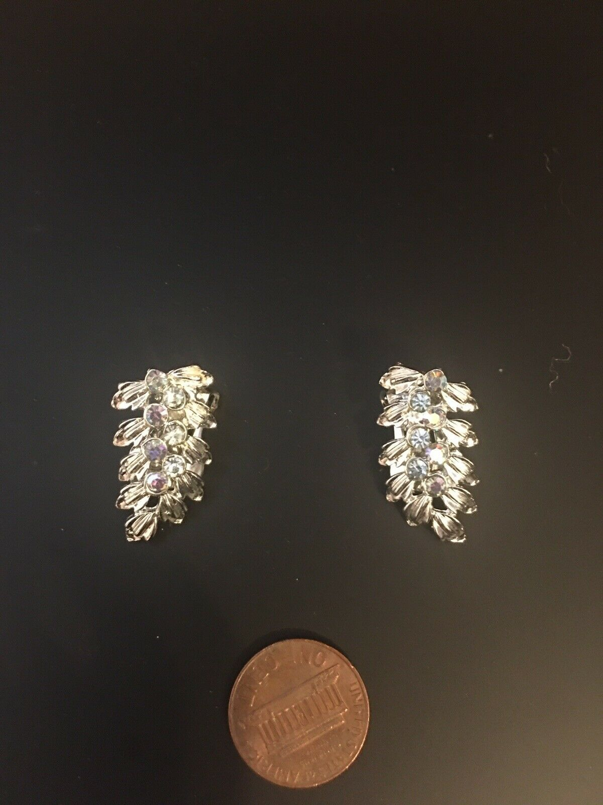 Primary image for Vintage Silver Tone Leaf Shape Crystal Rhinestone Clip On Earrings