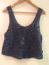 Forever 21 Blue Crochet Crop Tank Top New NWT M Medium - $10.95