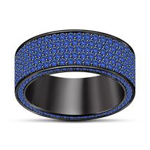 Mens Designer Wedding Anniversary Pinky Ring Band Black Finish 925 Solid... - $91.99