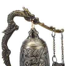 Zinc Alloy Vintage Style Bronze Lock Dragon Carved Buddhist Bell Chinese Geomant image 5