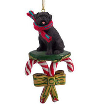 PUG (BLACK) DOG CANDY CANE CHRISTMAS ORNAMENT HOLIDAY XMAS gift pet lovers - $14.95