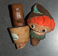 Lot of 2 Vintage Wooden Wine Bottle Stopper Israel 1950-60's Elephant Doll - $29.90