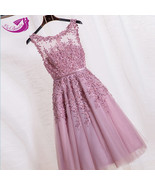 Dress fashion lace evening lace embroidery with beaded party - $110.99