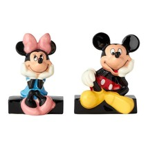 Walt Disney Mickey & Minnie Sitting Ceramic Salt and Pepper Shakers Set NEW - $24.18