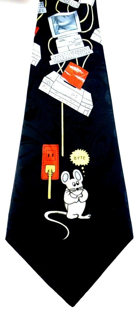 Fratello Necktie Tie Vintage Computer Byte Mouse Black CPU Tower