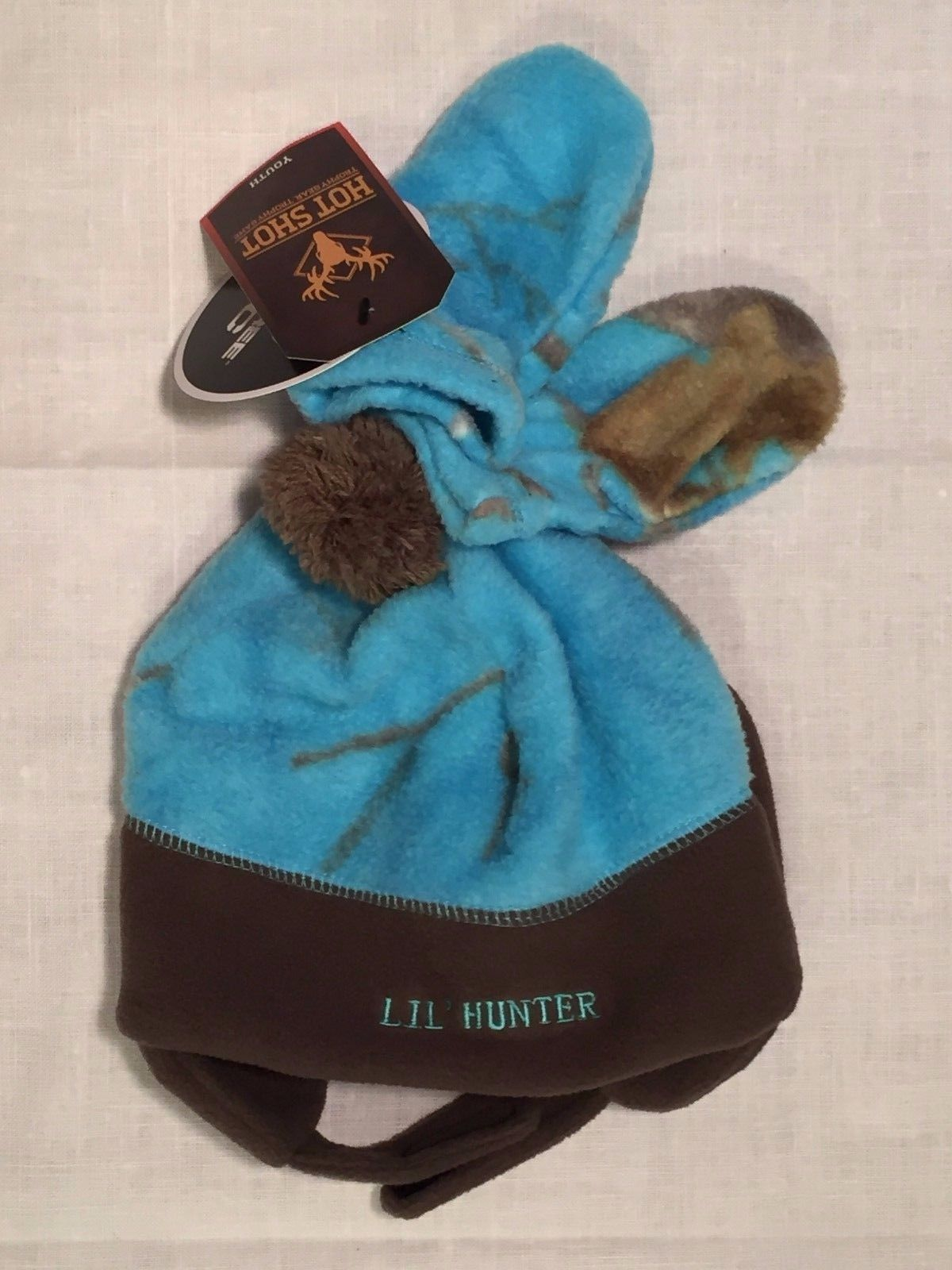 Hot Shot RealTree Blue Camo Lil Hunter Hat And Mittens Set Youth Size 2T-4T