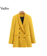 Vadim women chic gold blazer double pocket chest long sleeve office wear solid - $49.99