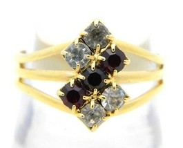 VTG Gold Tone Clear Red Rhinestone Ring Size 8 - $19.80
