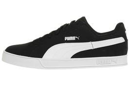 Puma Hommes Smash Vulc Baskets Cuir Chaussures 359622-09 Noir/Blanc - $61.86