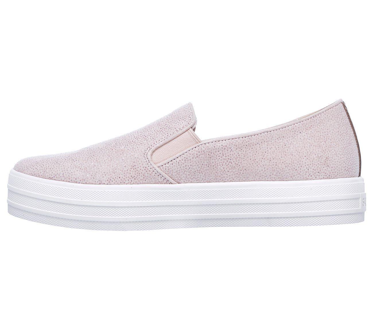 794 Rosa Skechers Schuhe Damen Memory Foam ohne Bügel Plateau Glitzer Sneaker