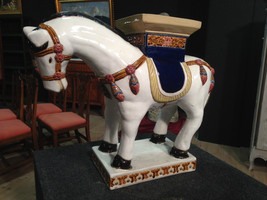 SCULPTURE PONY IN CERAMIC PAINTED EASTERN PERIOD FIRST '900 L 62 cm - $1,731.35