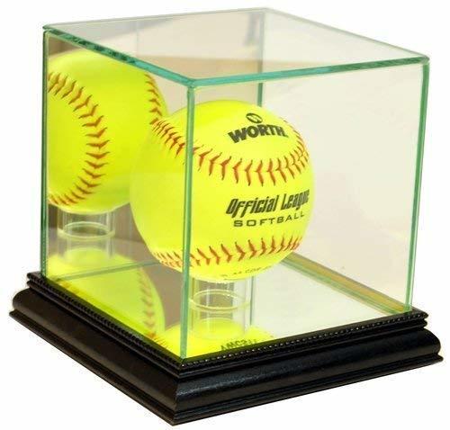 Softball Glass Display Case Holder with Black Base