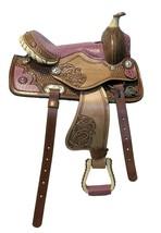 """10"""" 12"""" 14""""  Youth/Pony Pink Gator Print Western Brushed Leather Saddle Set - $168.35+"""