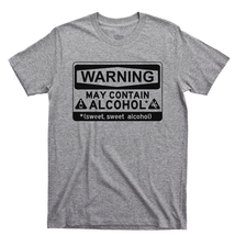 Warning May Contain Alcohol T Shirt, Whiskey Rum Tequila Men's Cotton Tee Shirt - $13.99+