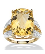 9.96 TCW Citrine and Topaz 14k Gold over .925 Silver Ring - $124.82