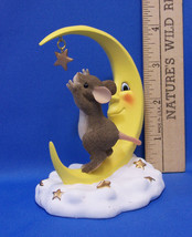 Fitz & Floyd Charming Tails Figurine Reach For The Stars Mouse Crescent ... - $15.83