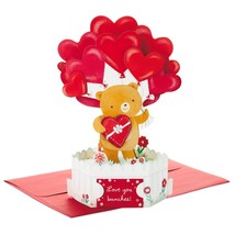 Love You Bunches Bear With Balloons 3D Pop-Up Valentine's Day Card With Envelope - $7.99