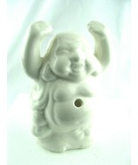 Porcelain White Happy Buddha Incense Holder Burner - Hands In the Air  - $15.79