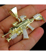 1 Ct Round Sim Diamond Men's M4 A1 Assault Rifle Pendant 925 Sterling Si... - $424.99