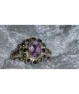 Vintage purple flower Marcasite sterling silver ring size 6.5 Downton Abbey - $33.00