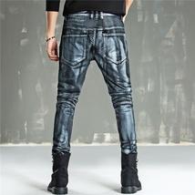 Men Fashion Paint Golden Coating Stretch Bike Jeans image 5
