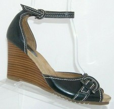 Aerosoles 'French Thread' black leather buckle ankle strap sandal wedges... - $33.30