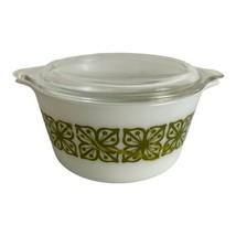 Vintage Pyrex Verde Green Autumn Floral 1 QT #473 With Lid Oven Safe - $27.87