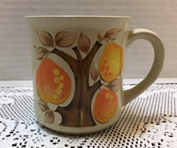 Vintage Mid Century Stylized Pear Design Stoneware Coffee/Tea Cup Made i... - $9.00