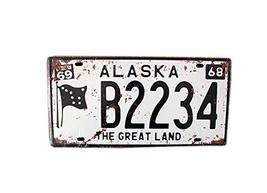 PANDA SUPERSTORE [ALASKA] Wall Decor Tin Metal Drawing Old License Number Prints