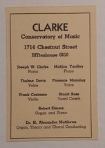 1940 Clarke Conservatory of Music Advertisement 1714 Chestnut Street Phi... - $16.00