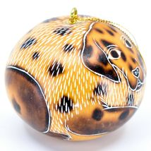 Handcrafted Carved Gourd Art Dalmatian Puppy Dog Ornament Handmade in Peru image 4