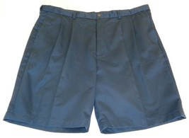 Roundtree & Yorke Size 50 Waist EXPANDER WAIST Navy Blue Pleated New Men... - $33.18