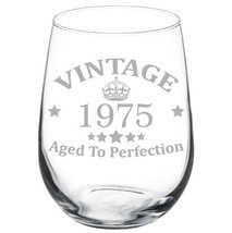 Vintage Aged To Perfection 1975 43rd Birthday Funny Gift Wine Glass - $15.99