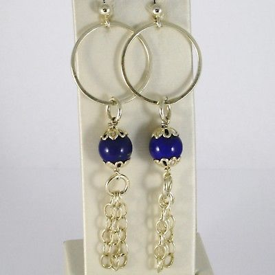 925 STERLING YELLOW SILVER PENDANT EARRINGS WITH LAPIS LAZULI BALL, FRINGE