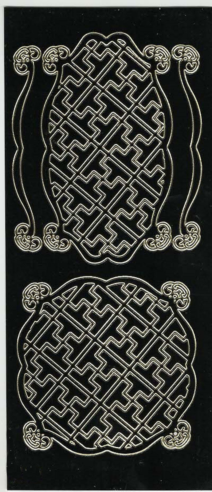 gold on black shaped patterns theme mixed sheet of peel off stickers  ideal card