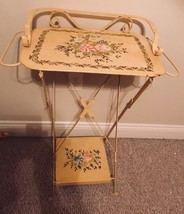 RARE Vintage Tole Folding Hand Painted Wash Stand - $260.87
