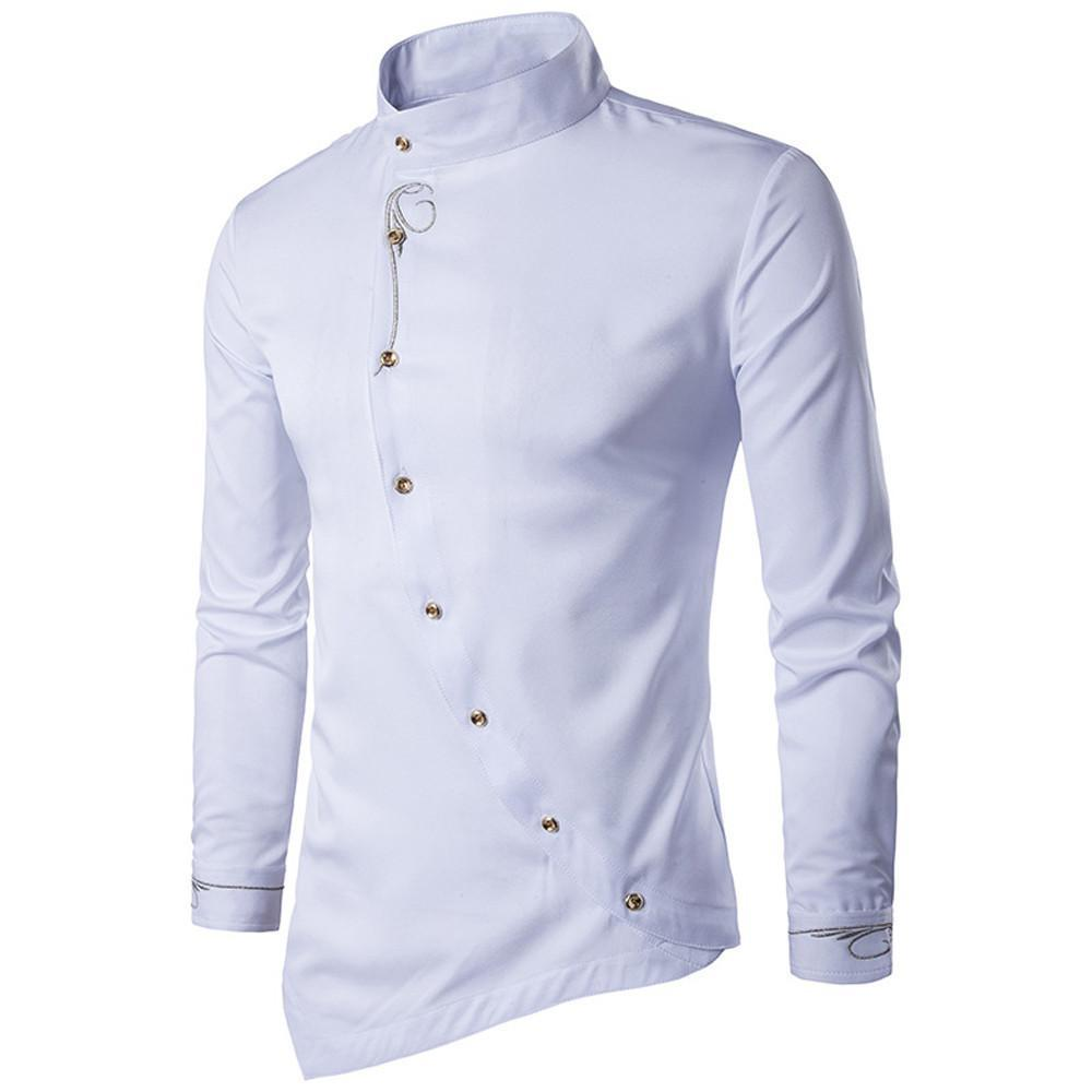 Primary image for Mens Casual Irregular Silm Fit Long Sleeve Shirt Blouse Tops Embroidery T-shirt