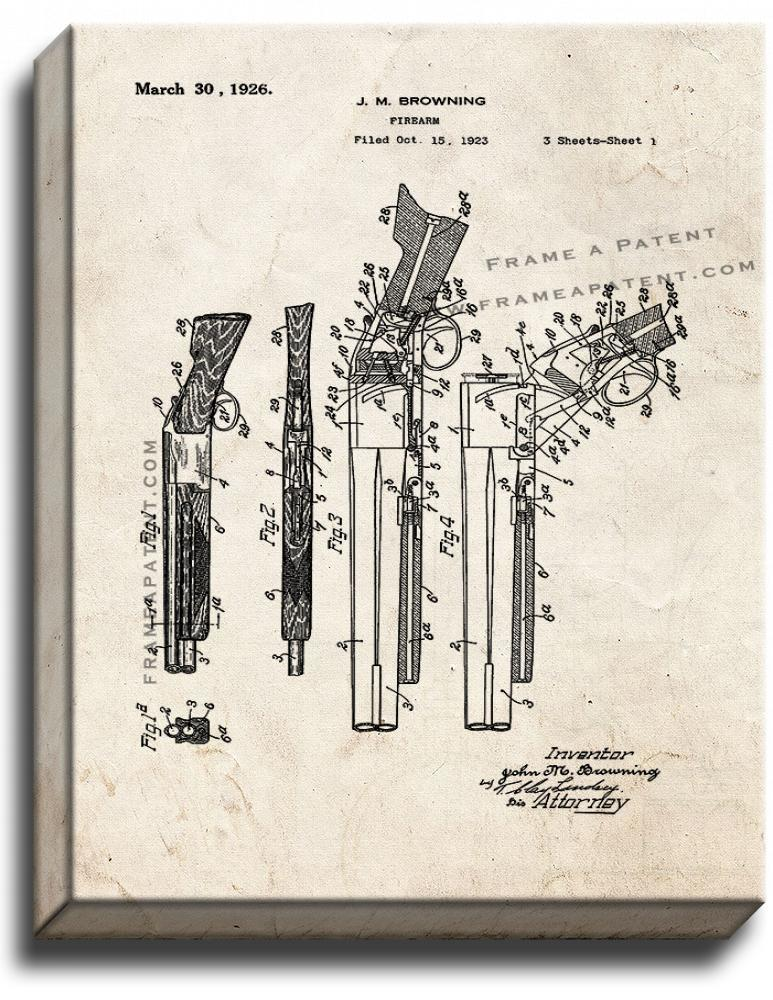 Primary image for Browning Superposed over/under shotgun Patent Print Old Look on Canvas