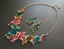 Colorful flowers necklace, wedding bridal necklace, rhinestones crystals... - $48.88