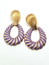 Purple and Gold Swirl Teardrop Shaped Doorknocker 2.75 Inch Drop Dangle Earrings - $15.00