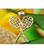 Vintage crossed tennis rackets ball pendant charm vg 14k gold figural thumbtall